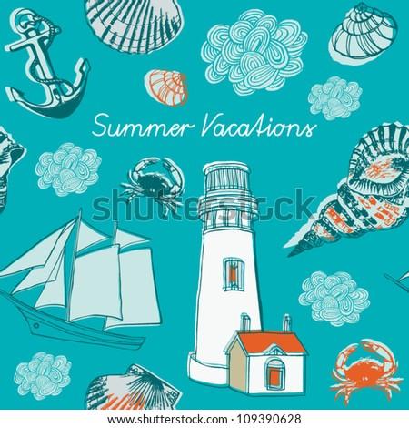 Nautical doodles - stock vector