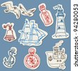Nautical doodles on Torn Paper- Hand drawn collection in vector - stock vector