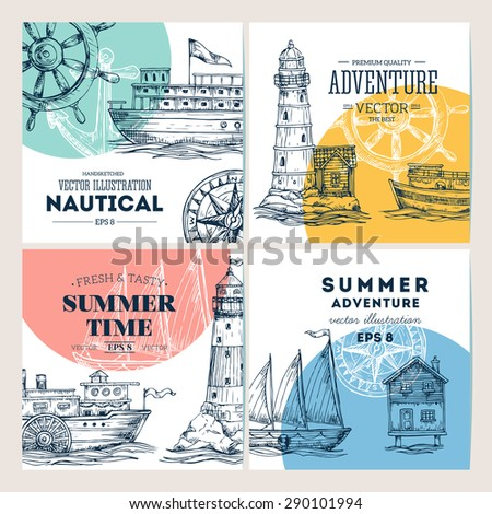 Nautical elements banner collection. Sea set. Vector illustration - stock vector