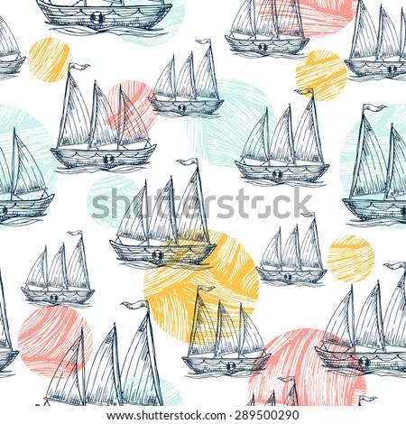 Nautical elements fun seamless pattern. Sea background. Vector illustration - stock vector