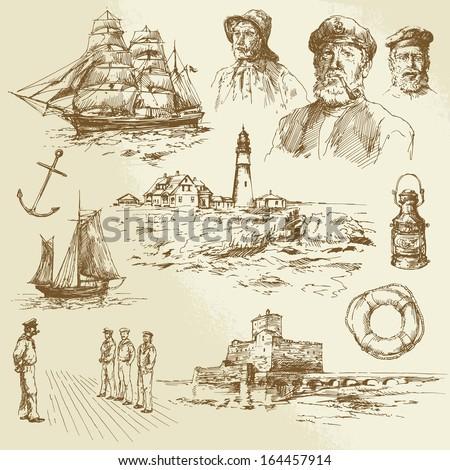 nautical elements - hand drawn set - stock vector