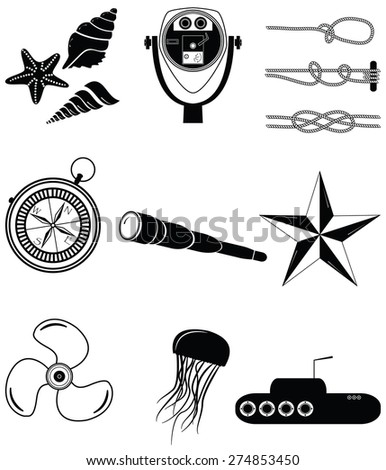 Nautical elements 2 including  sea shells. Star fish, beach telescope, nautical knots, telescope, star, jelly fish, submarine, vintage compass and boat engine element   - stock vector