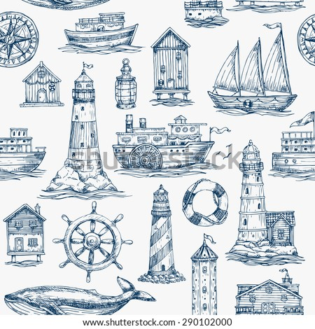 Nautical elements seamless pattern. Sea background. Vector illustration - stock vector