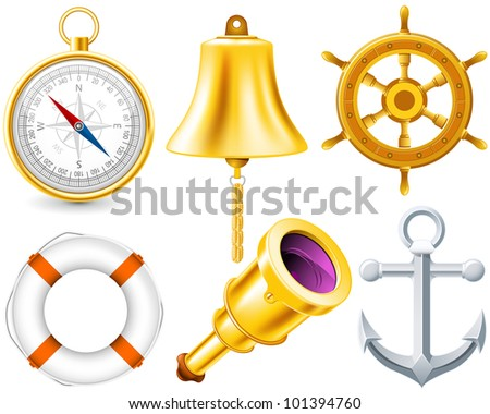 Nautical elements set made with gradient mesh - stock vector