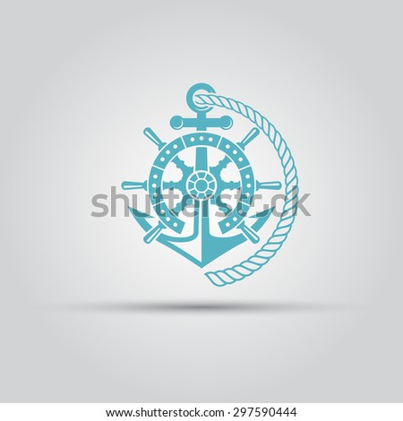 Nautical emblem, helm wheel, anchor and rope isolated vector logo for maritime company - stock vector