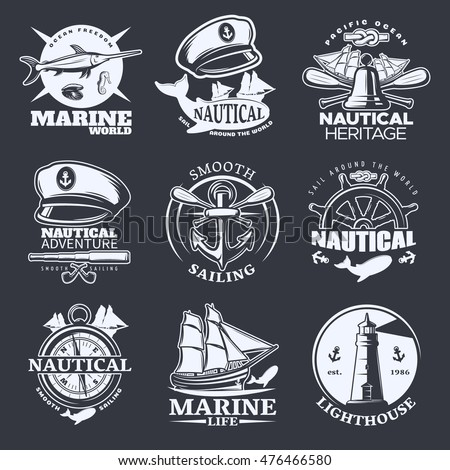 Nautical emblem set on black with marine world nautical sail around the world smooth sailing descriptions vector illustration