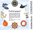 Nautical equipment items forming a frame - stock vector