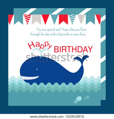 Nautical Happy Birthday Card Design Whale Stock Vector 502810876
