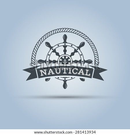 nautical helm wheel with ribbon for text around which the rope isolated vector label template  - stock vector