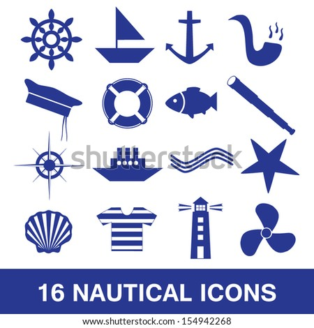 nautical icon collection eps10 - stock vector