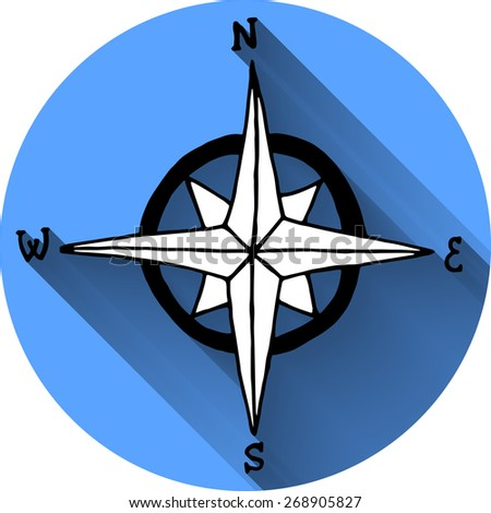 Nautical icon in flat style. Wind rose symbol.