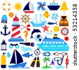 nautical icon set - stock vector