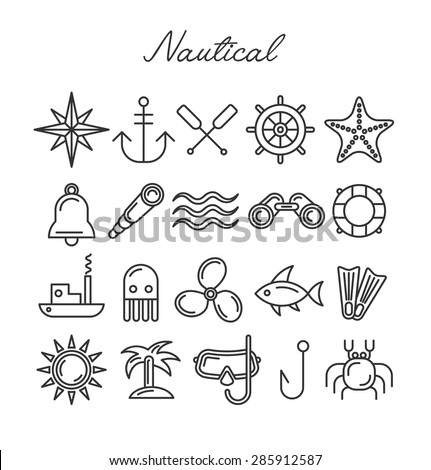 Nautical Icon Set. Vector Symbols in Line Art Style