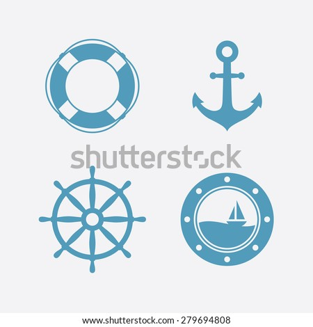 Nautical icons set. Lifebuoy, anchor, steering wheel, porthole. Vector illustration - stock vector