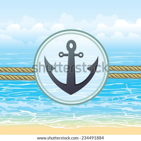 Nautical label with anchor on a blue sea background. Vector ocean illustration. Website marine icon.  - stock vector