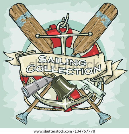 Nautical Label with sample text, Sailing Collection - stock vector