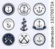 Nautical labels set - stock photo