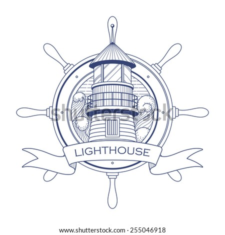 Nautical logo with a lighthouse and steering wheel - stock vector