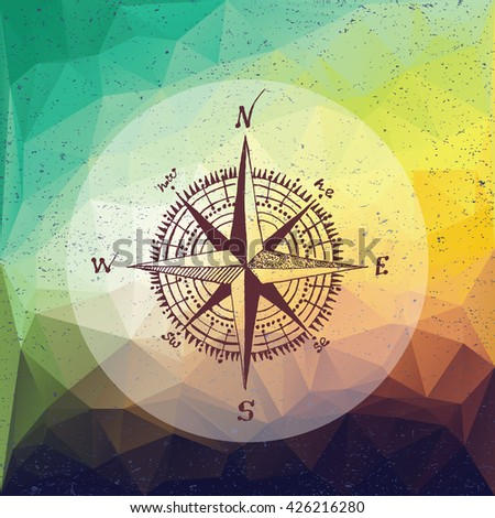 Nautical marine wind rose, compass icon for travel, navigation design. Hand drawn illustration for tattoo, print. Vector sketch in line art style with engraved elements isolated on vintage background. - stock vector