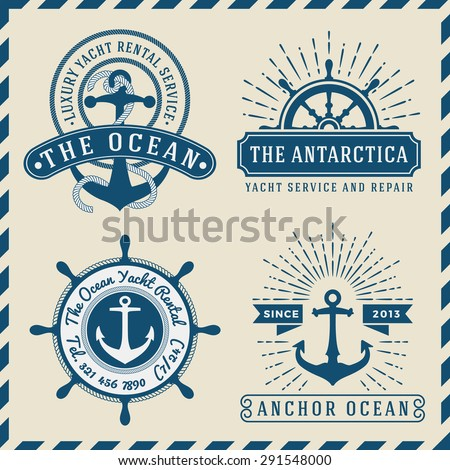 Nautical, Navigational, Seafaring and Marine insignia logotype vintage design with anchor, rope, steering wheel, star burst, sunburst |  Only Free Font Used, Vector illustration  - stock vector