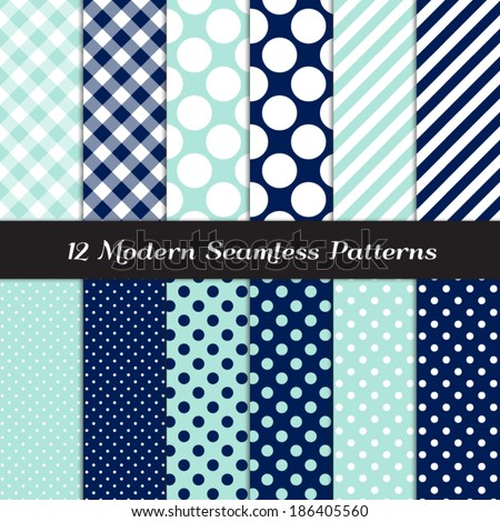 Nautical Navy Blue, Aqua and White Jumbo Polka Dots, Gingham and Stripes Seamless Patterns. Navy Aqua Nautical Backgrounds. Pattern Swatches included and made with Global Colors. - stock vector