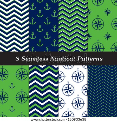 Nautical Navy Blue, Green and White Chevron and Anchors and Compasses Patterns. Green Navy Nautical Backgrounds N2. Pattern Swatches included and made with Global Colors. - stock vector