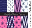 Nautical Navy Blue, Pink and White Chevron and Anchors and Compasses Patterns N2. Pink Nautical Backgrounds. Pattern Swatches included and made with Global Colors. - stock vector