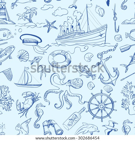 Nautical or marine themed seamless pattern, excellent vector illustration, EPS 10 - stock vector