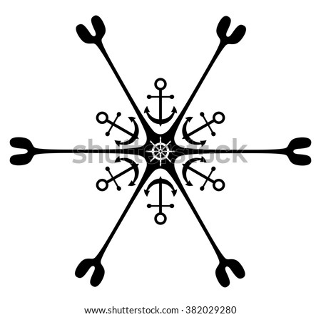 Nautical ornament. Anchor. Rudder. Isolated - stock vector