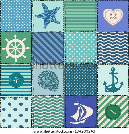 Nautical patchwork seamless pattern with seashell, starfish, anchor, wheel, sailboat and buttons - stock vector