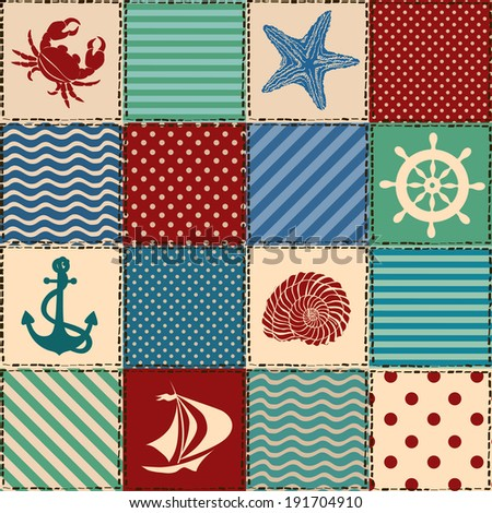 Nautical patchwork seamless pattern with seashell, starfish, anchor, wheel, sailboat and crab - stock vector