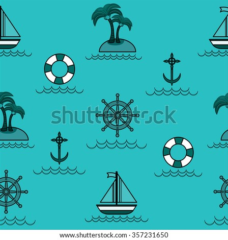 Nautical pattern inspired with small boats on waves. Texture for web, print, wallpaper, home decor, spring summer fashion fabric, textile, invitation or website background. Marine set.