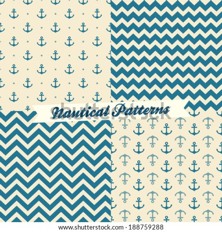 Nautical pattern set - stock vector
