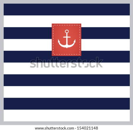 Nautical pattern with anchor on label. VECTOR illustration. - stock vector