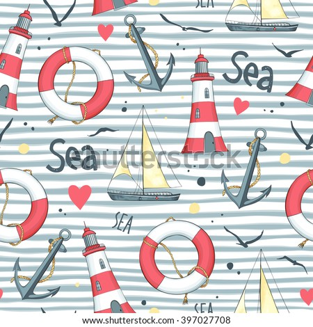 Nautical pattern with sailboat, seagulls, life buoy, anchor and lighthouse made in the vector. Striped background.  - stock vector