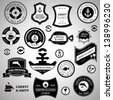Nautical Retro Labels, Seal And Icons - Set - Isolated On Gray Background - Vector Illustration, Graphic Design Editable For Your Design. Nautical Logo - stock vector