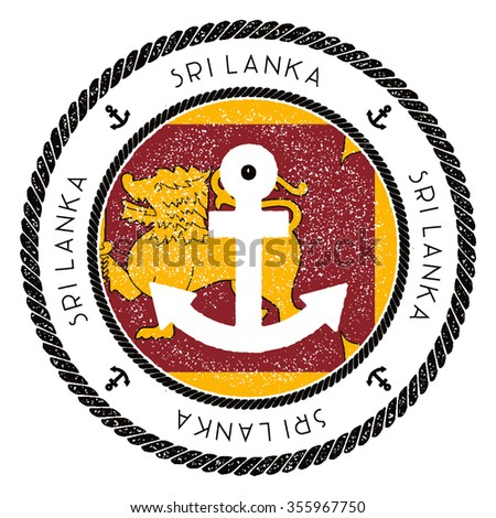 Nautical Rubber Stamp with Sri Lanka Flag and Anchor. Marine rubber stamp, with round rope border and anchor symbol on flag background. Vector illustration - stock vector