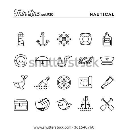 Nautical, sailing, sea animals, marine and more, thin line icons set, vector illustration - stock vector