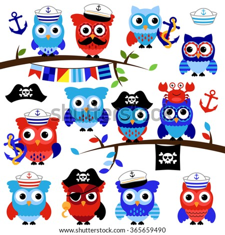 Nautical, Sailor and Pirate Themed Vector Owls - stock vector
