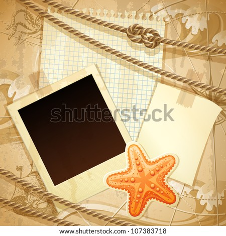 Nautical scrapbook template - stock vector