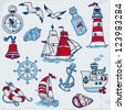 Nautical Sea Design Elements - for scrapbook and design in vector - stock vector