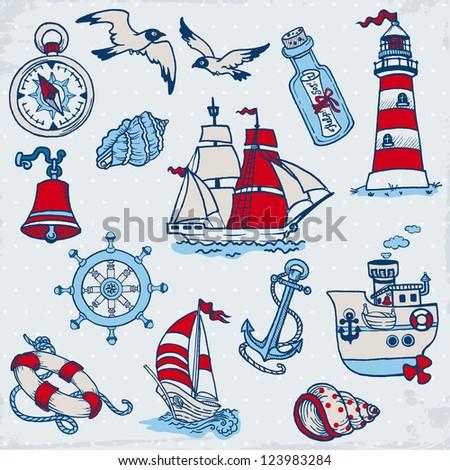 Nautical Sea Design Elements - for scrapbook and design in vector - stock vector