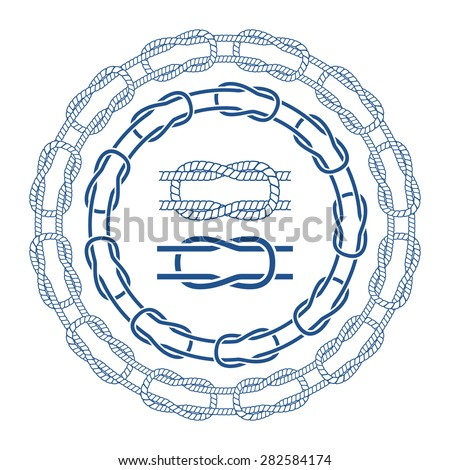 Nautical sea rope knots borders brushes set. Vector illustration. - stock vector