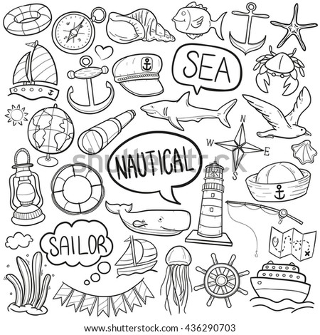 Nautical Sea Sailor Doodle Icons Hand Made