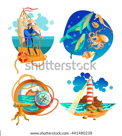 Nautical sea symbols 2 flat icons set with sailboat captain and  lighthouse vintage abstract isolated vector illustration  - stock vector