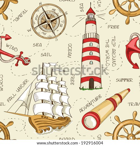 Nautical seamless pattern of sailboat, anchor, wheel, spyglass, lighthouse and compass - stock vector