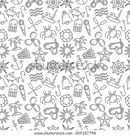 Nautical Seamless Pattern. Vector Background in Modern Linear Style - stock vector