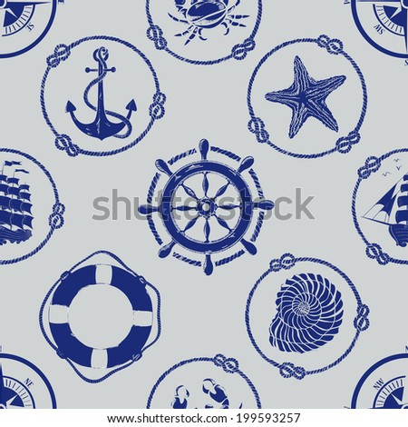 Nautical seamless pattern with anchor, wheel, compass, lifebuoy, ship, starfish, seashell and crab