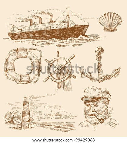nautical set - stock vector