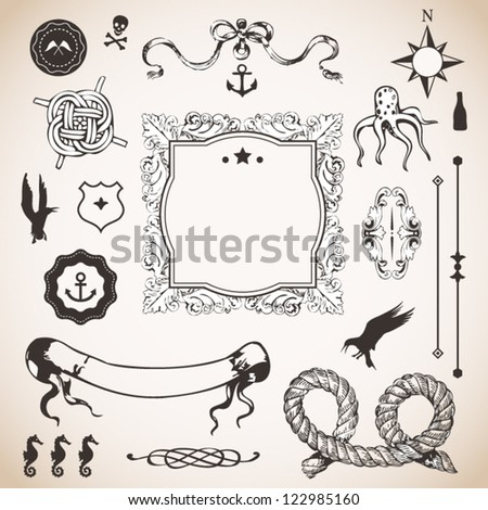 Nautical set with elements for Your design - stock vector